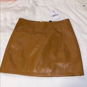 Leather Camel / Brown Zip Back Mini Skirt
